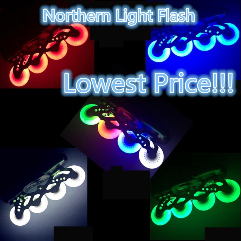 Free Shipping LED Flash Wheel 80mm 76mm 72mm 70mm 68mm 64mm for Inline Skates 90A for s Kids SEBA RB Roller Wheels