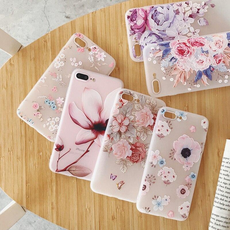 Funda de teléfono pintada en relieve 3D para iphone 7, carcasa de silicona con flores en relieve para iphone 11 Pro 7 8 Plus 6 6s XS Max XR