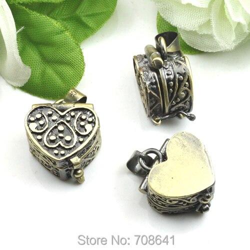 5 uds bronce envejecido latón amor corazón deseo oración caja medallón con marco de fotos colgante