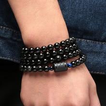 6 Mm 8 Mm Obsidiaan Dragon Phoenix Patroon Steen Kralen Armband Liefhebbers Transfer Luck Armband & Bangle Sieraden Gift
