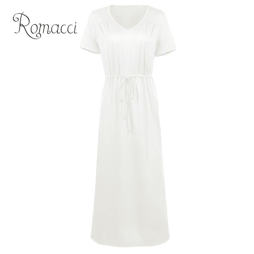 Romacci XXXL 4XL 5XL vestido de talla grande para mujeres negro blanco Maxi Vestido largo de manga corta con cuello en V cintura elástica ElegantT Shirt vestidos