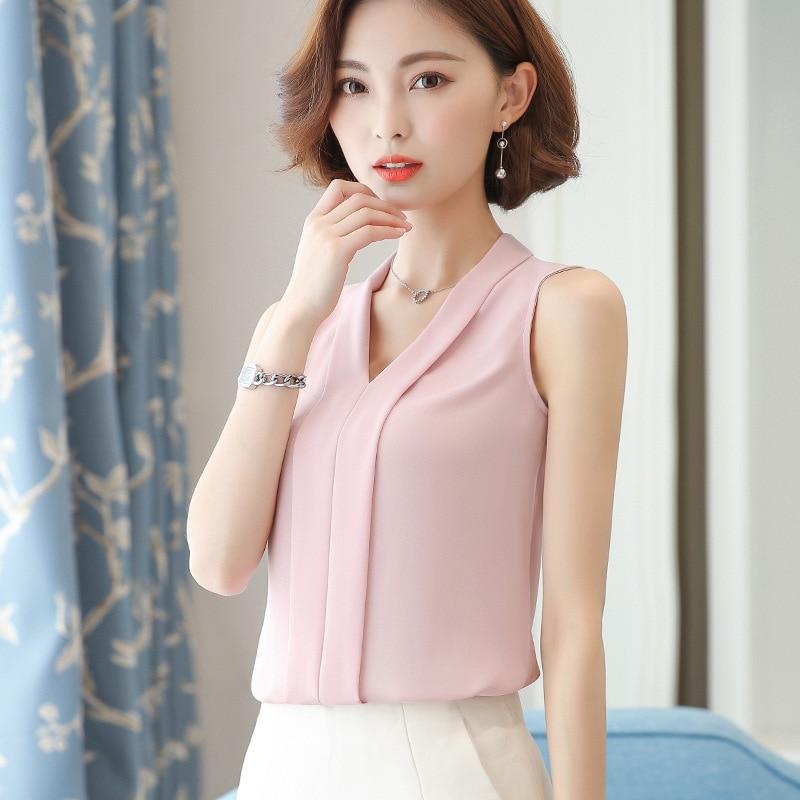 Blusa de chifón blanca de encaje, a la moda nueva camisa sin mangas de chifón, Tops para mujer, camisa de manga corta con cuello en V, Top corto de chifón rosa