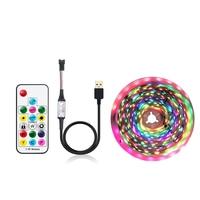 USB LED strip Dream color with 17Key RF controller 5V WS2812B RGB pixel strip light 1Meter IP30/IP65 TV PC background lighting