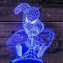 3D Led éclairage cadeau créatif veilleuse Usb tactile interrupteur lampe de Table Spiderman lumière Led maison couloir hôtel fête atmosphère L