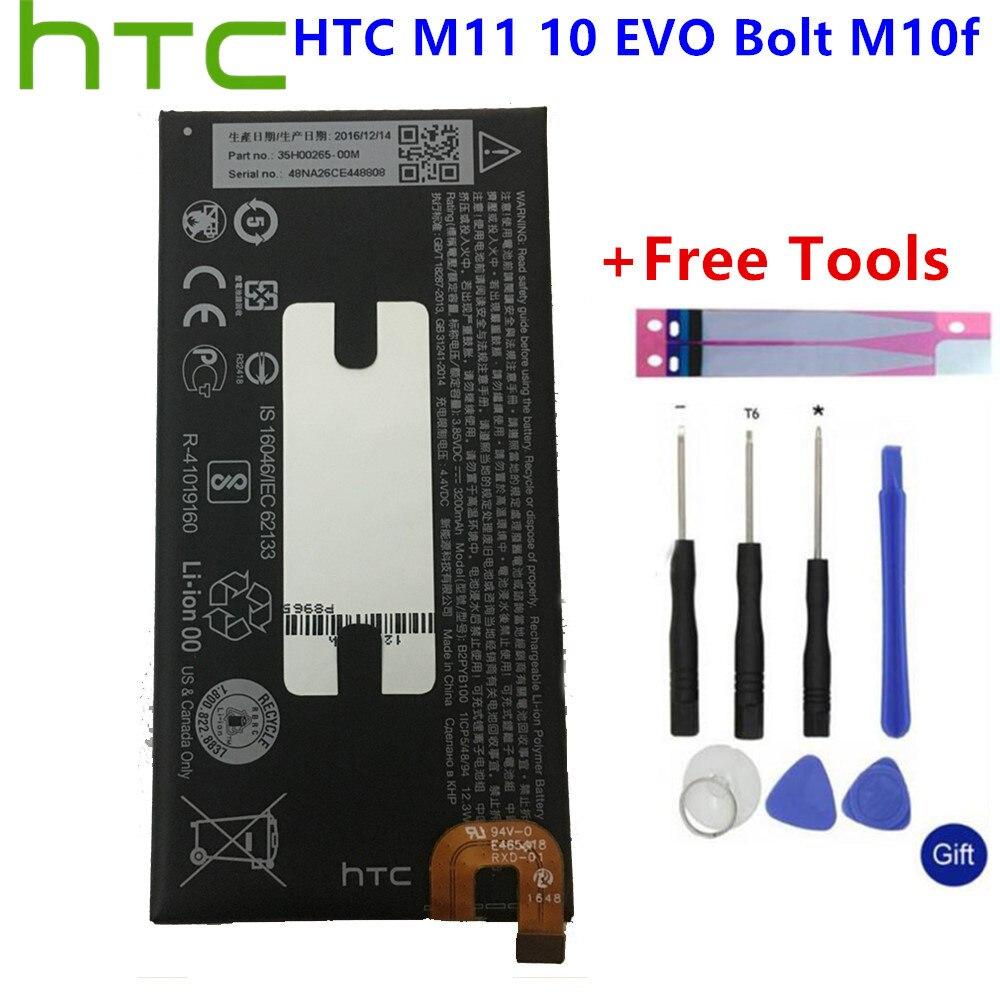 Batería de teléfono de alta capacidad B2PYB100 para HTC 10 Bolt Evo M10f M11 3200mAh + herramientas de regalo + pegatinas