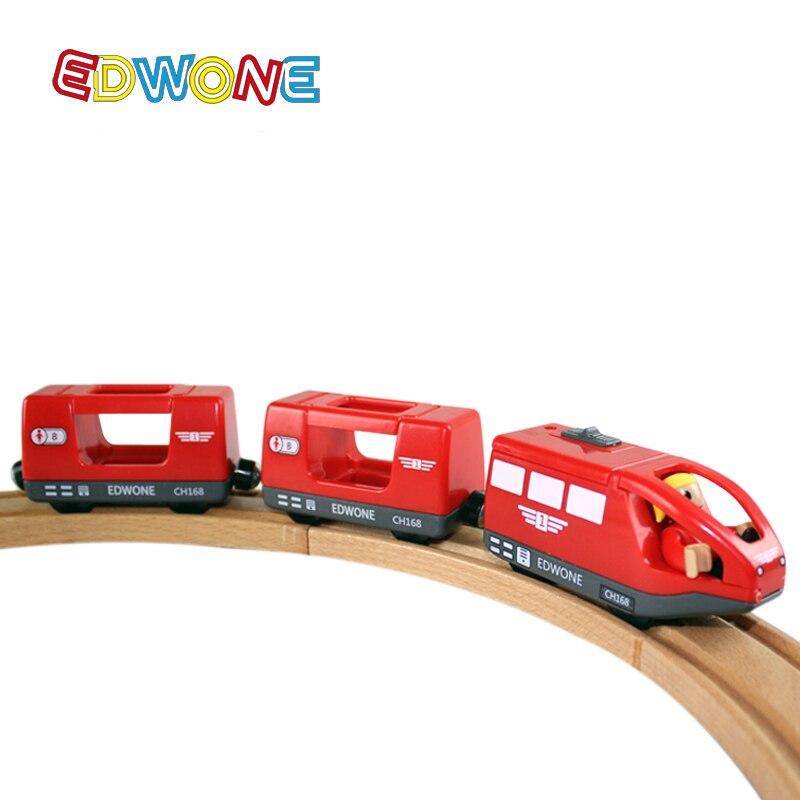 Tren Eléctrico magnético EDWONE con dos carruajes apto para Thomas, juguete caliente con ranura de madera