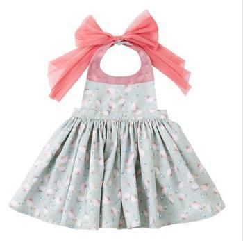 Retail 2019 Children Baby Dazzel Waterproof Apron Dress for children , Girls Princess Cute Dress 2-4T