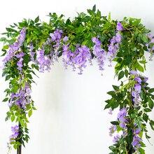 180CM Longth Flower String Artificial Wisteria vine Flower Rattan Wall Hanging Decor Simulation Fake Flower head Vines Wedding