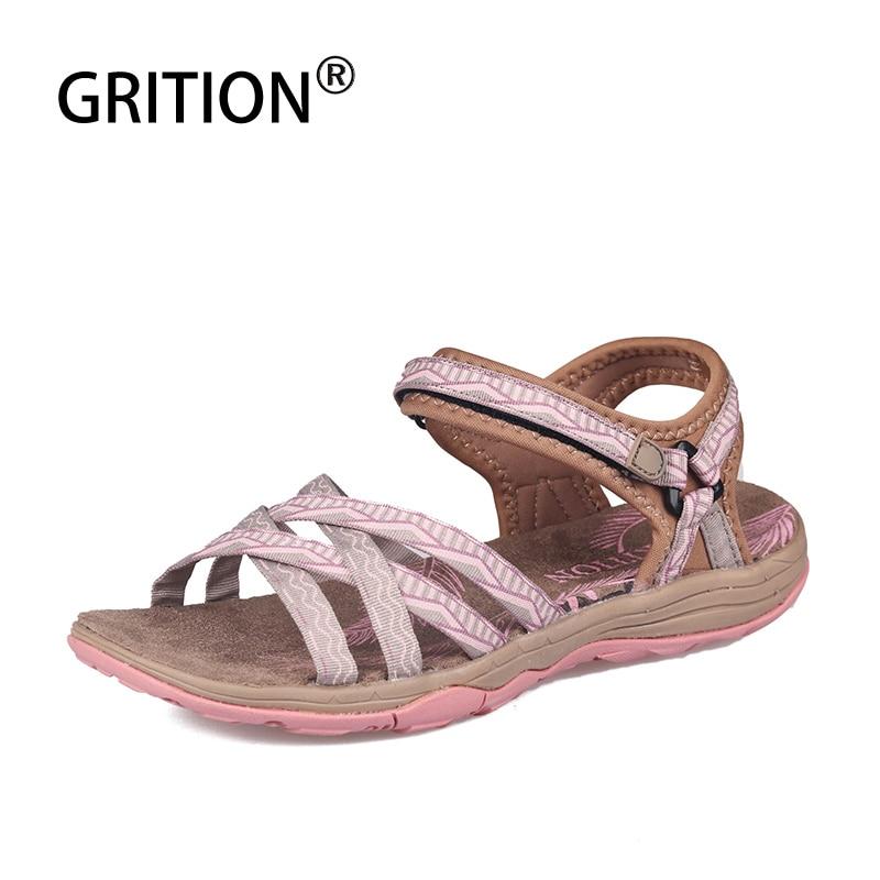 AliExpress - GRITION Beach Sandals Women Summer Outdoor Flat Shoes Ladies Open Toe 2021 Lightweight Breathable Walking Hiking Trekking Casual
