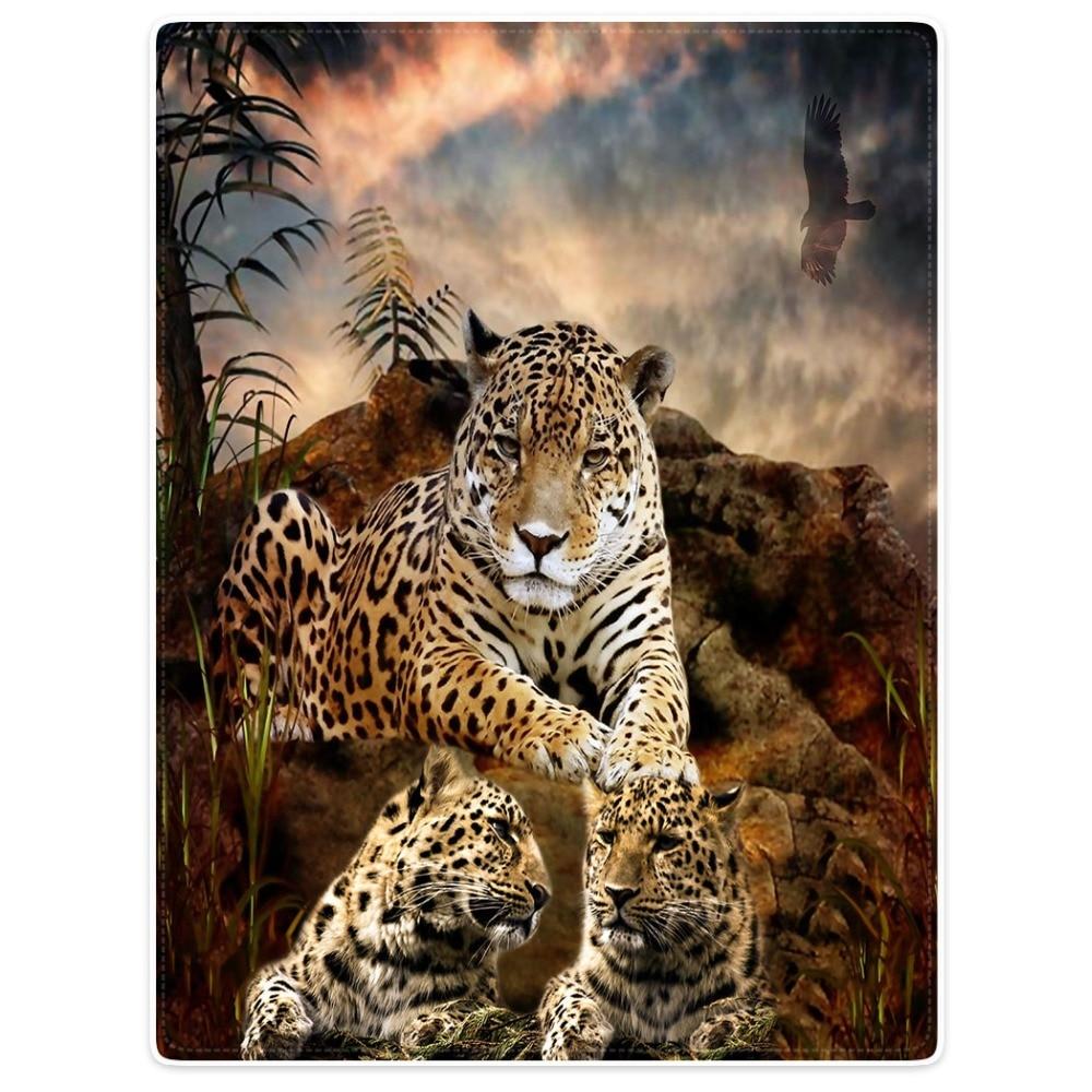 HommomH manta de tiro comodidad cálido suave de felpa para sofá Leopardo de águila cielo hierba oscura