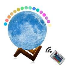 Rechargeable 3D Print LED Moon lamp Touch Switch Change Night light 16Colors 8cm 18cm 20cm Home Deco