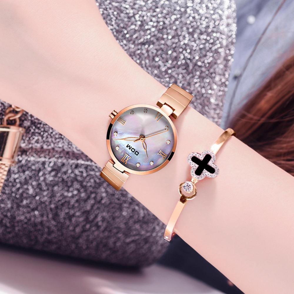 DOM 2019 New Fashion Women Watches Elegant Dial Clock Luxury Rose Gold Women's Bracelet Quartz Wristwatches Waterproof G-1267G enlarge