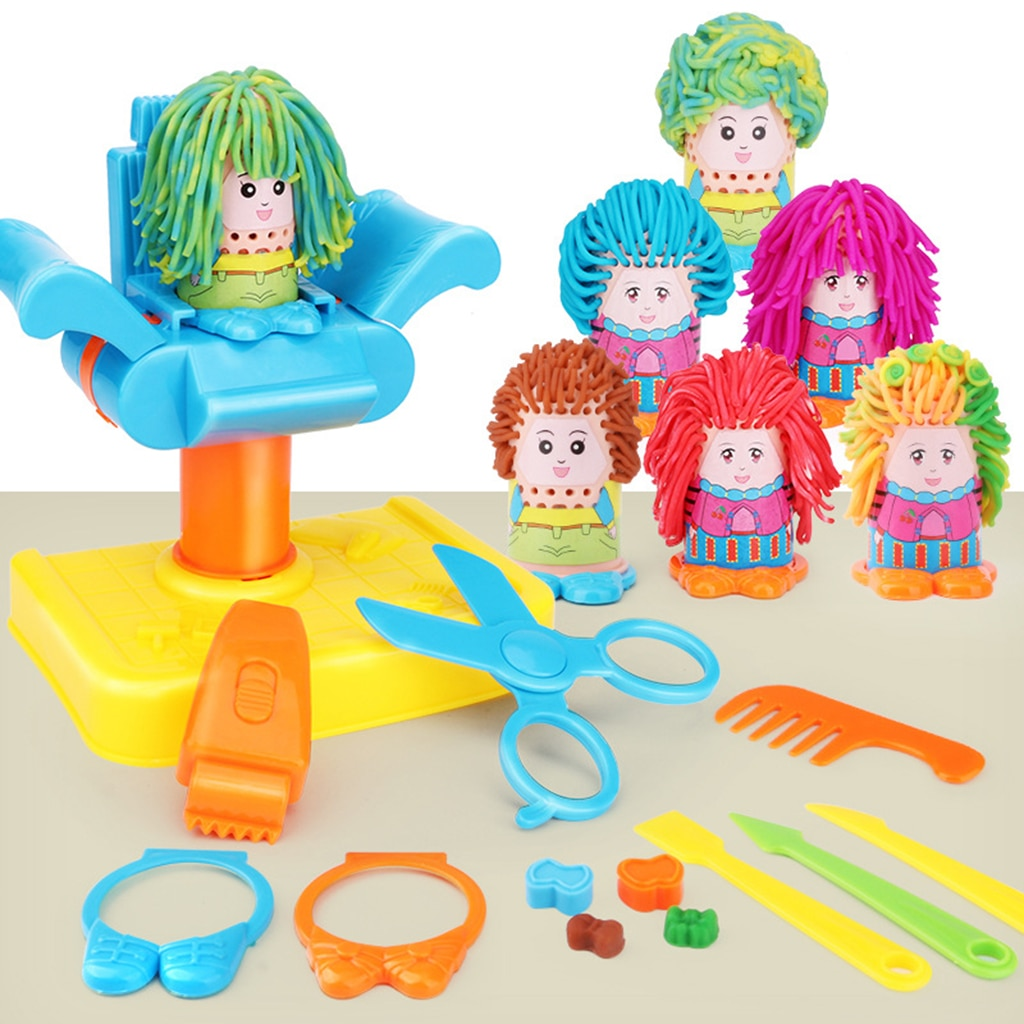 Juego de simulación de roles para peluquero para niños y niñas de 17 Uds. Kit de herramientas para juego de corte de pelo de muñeca de arcilla de modelado de corte alocado Set de cabeza de maquillaje