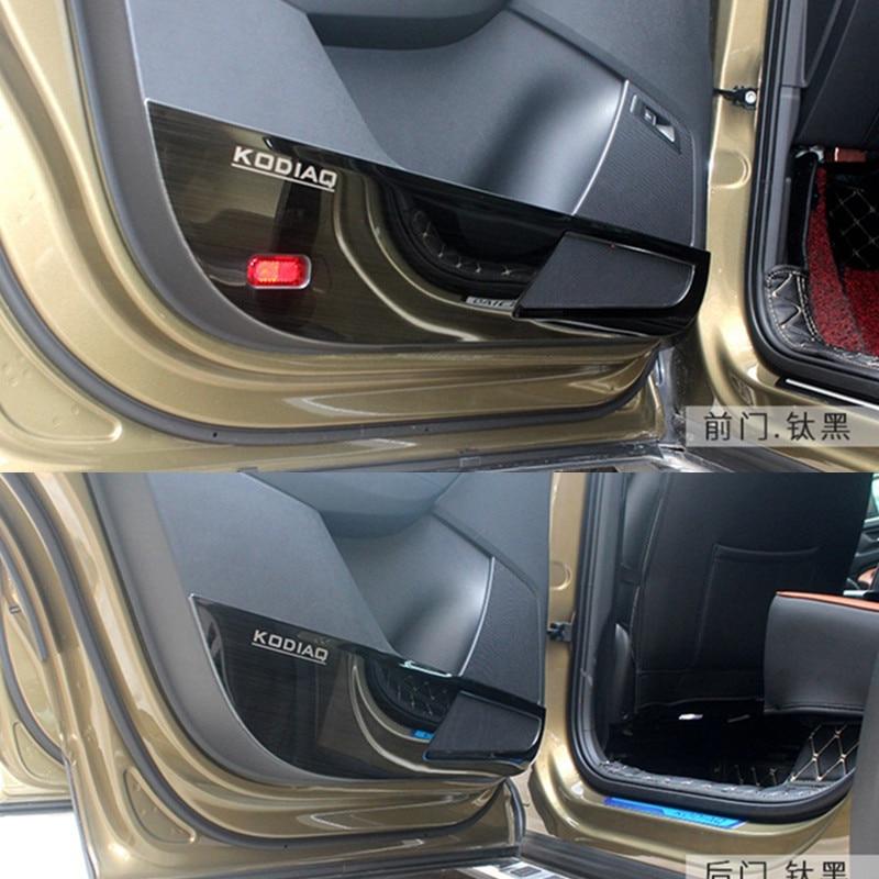 Para SKODA KODIAQ 2017 2018 puerta de acero inoxidable de coche Anti-Kick Pad cubierta de protección de puerta decoración coche-styling 4 Uds