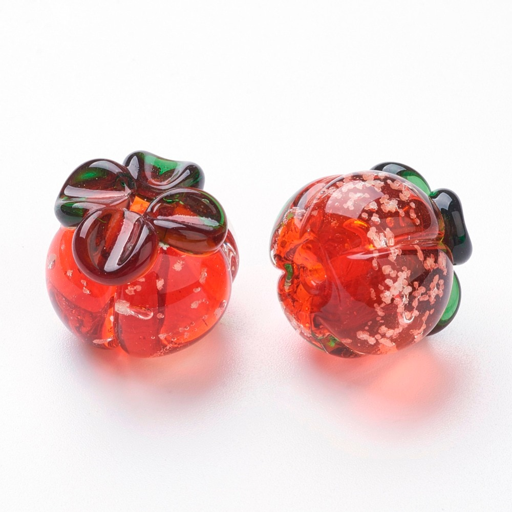 5pcs Luminous Handmade Lampwork Murano Beads Pumpkin, Red, 17x19.5mm Hole: 1.8mm