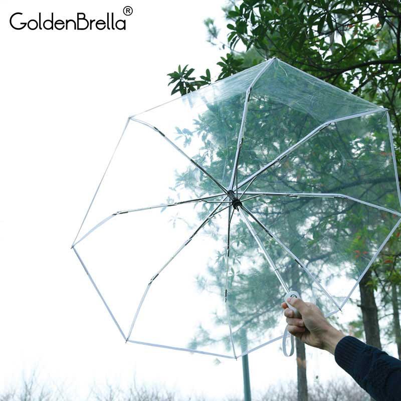 Брендовый прозрачный зонт женский 3 складной зонт Parapluie полностью автоматический 3 вида цветов женский дорожный уличный Зонт подарок