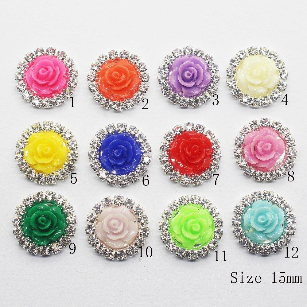 ZMASEY Rose Knoppen Verkoopprijs 10 stks/partij 15mm Naaien Button 12 Kleur Handwerk Decoratie Accessoire Ronde Fitting