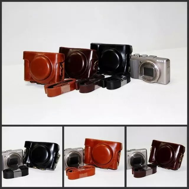 Alta qualidade caso de couro do plutônio para sony cyber-shot DSC-HX50V hx50 hx60 LCJ-HN câmera saco de ombro duro com alça
