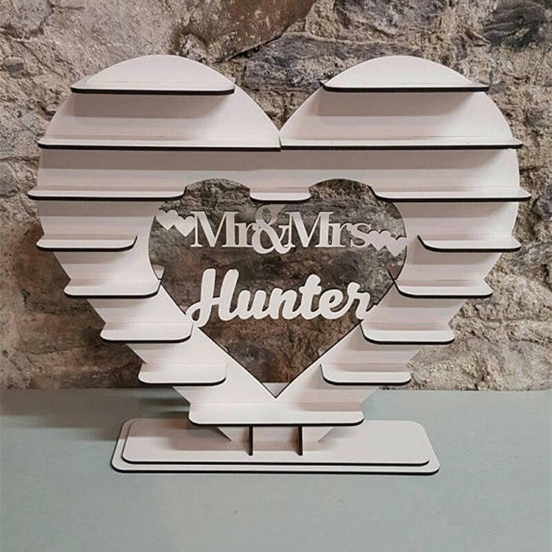 Decoraciones de boda para la ducha de boda con soporte de corazón personalizado Vintage independiente 3D Ferrero Rocher