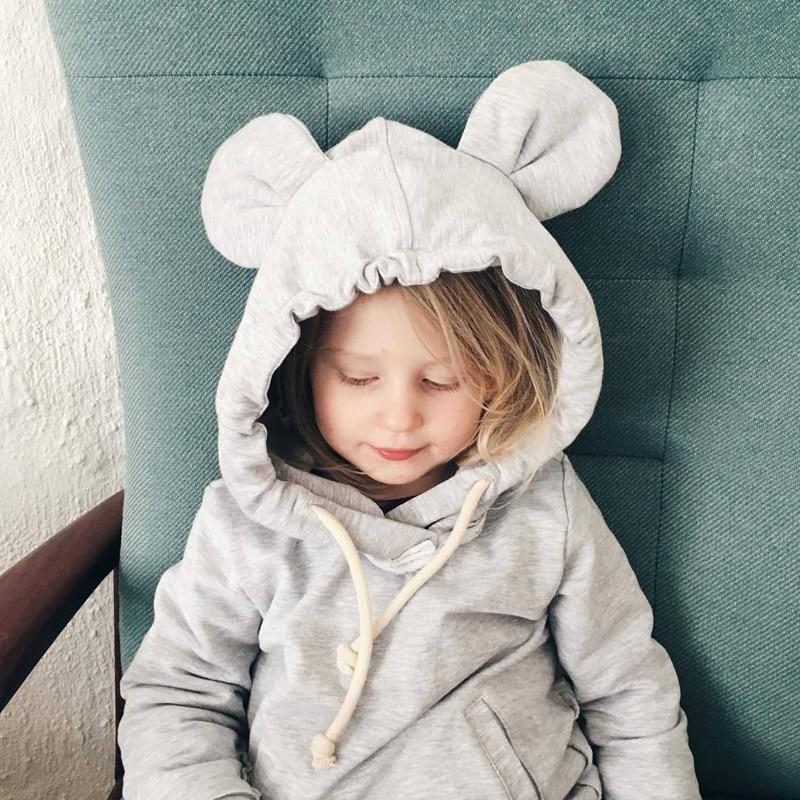 1-5Yrs Children Hooded Sweatshirt Boys Cute Bear Ears Animal Hoodies Unisex Kids Clothing Girls Tops Coats Baby Casual Outwear
