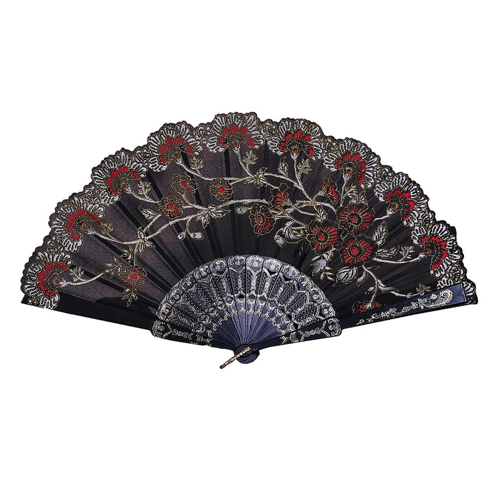 Flores de papel tipo ventilador, bordado Vintage, estilo chino, para baile, boda,...