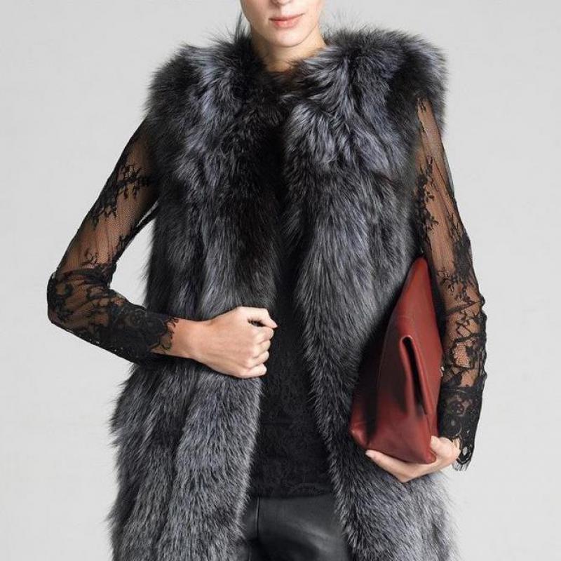 High Quality Fur Vest Coat Luxury Faux Fox Warm Women Coat Vests Winter Fashion Furs Women Coats Jacket Gilet Veste S - 6xl