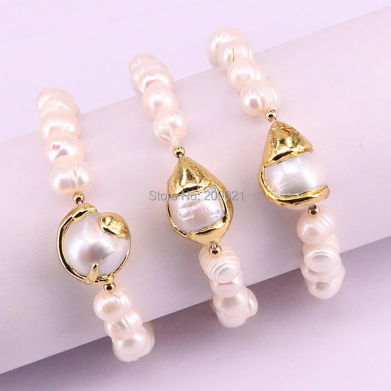 Para mujeres, 5 uds, nueva perla de agua dulce de moda, pulsera con cuentas, Color dorado, libertad, pulseras de perlas naturales, brazaletes