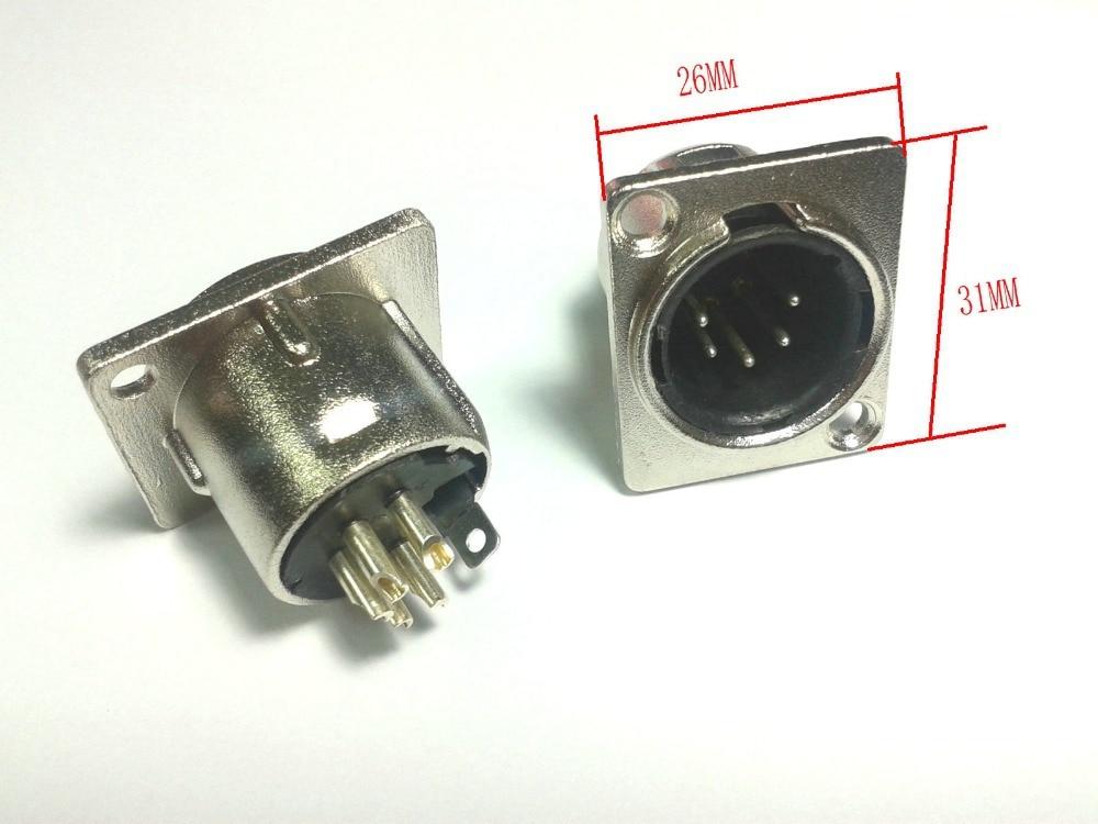 50 قطعة 5pin ذكر XLR الهيكل شنت المقبس لوحة لسماعة رأس DMX الداخلي