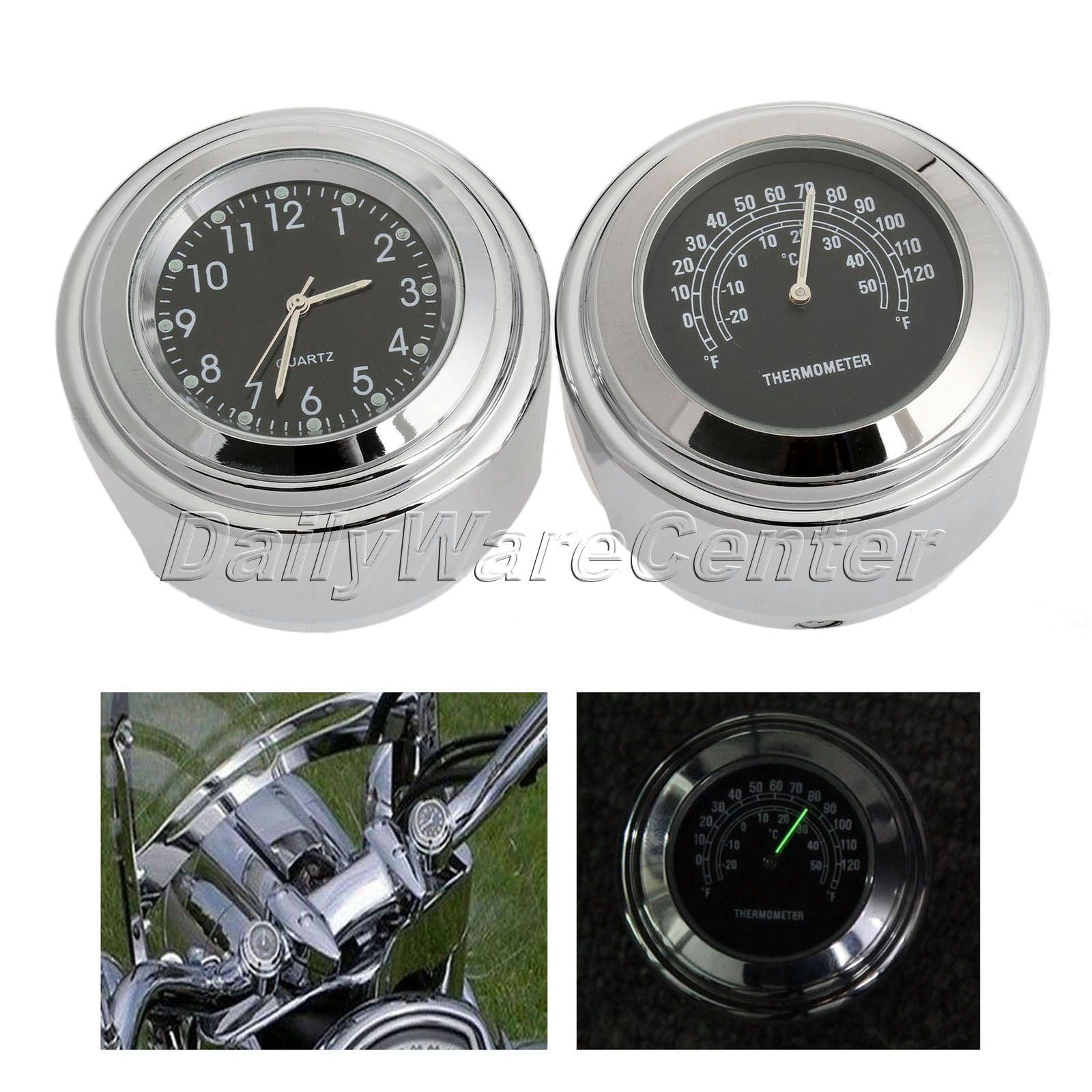 "7/8 ""1"" manillar de motocicleta reloj de esfera negra + termómetro de temperatura negro aluminio para Honda Yamaha Kawasaki impermeable"