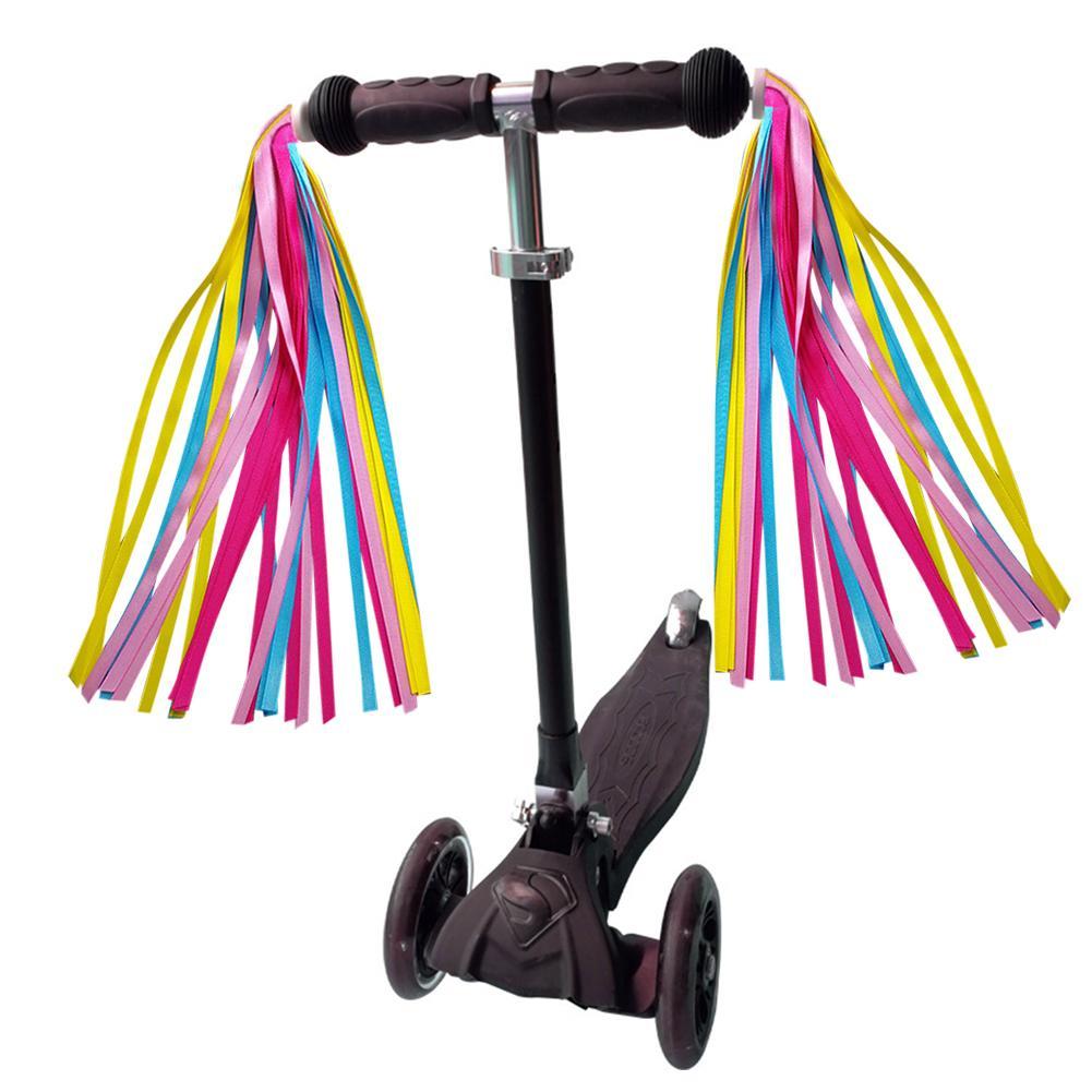 2 uds serpentinas coloridos para manillar de bicicleta, manillar, borlas, niños, niñas, niños, serpentinas, borlas, accesorios de bicicleta
