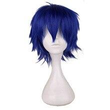 QQXCAIW-perruque synthétique courte 30 Cm   Perruque résistante à la chaleur pour hommes, perruque de Cosplay Costume pour garçons, bleu foncé