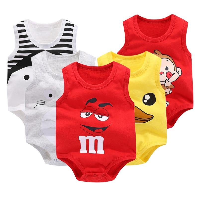 Newborn Baby Boys Girls Cartoon Cotton Bodysuit Infant Baby Bag Fart Sleeveless Vest Jumpsuit Summer