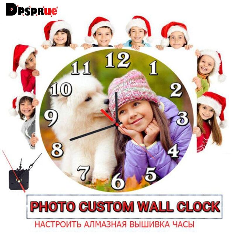"""""""Foto personalizado + relógio"""" pintura diamante quadrado completo/redondo 5d imagem personalizado personalização pessoal privado relógios ponto cruz"""