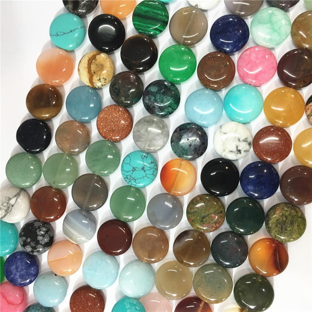 Assorted Pedra Natural Mista Plana Rodada Beads Reiki Rosas Quartzo Topazs Ágatas Contas 12mm & 63 pcs 16mm & 48 pcs 14mm & 53 pcs