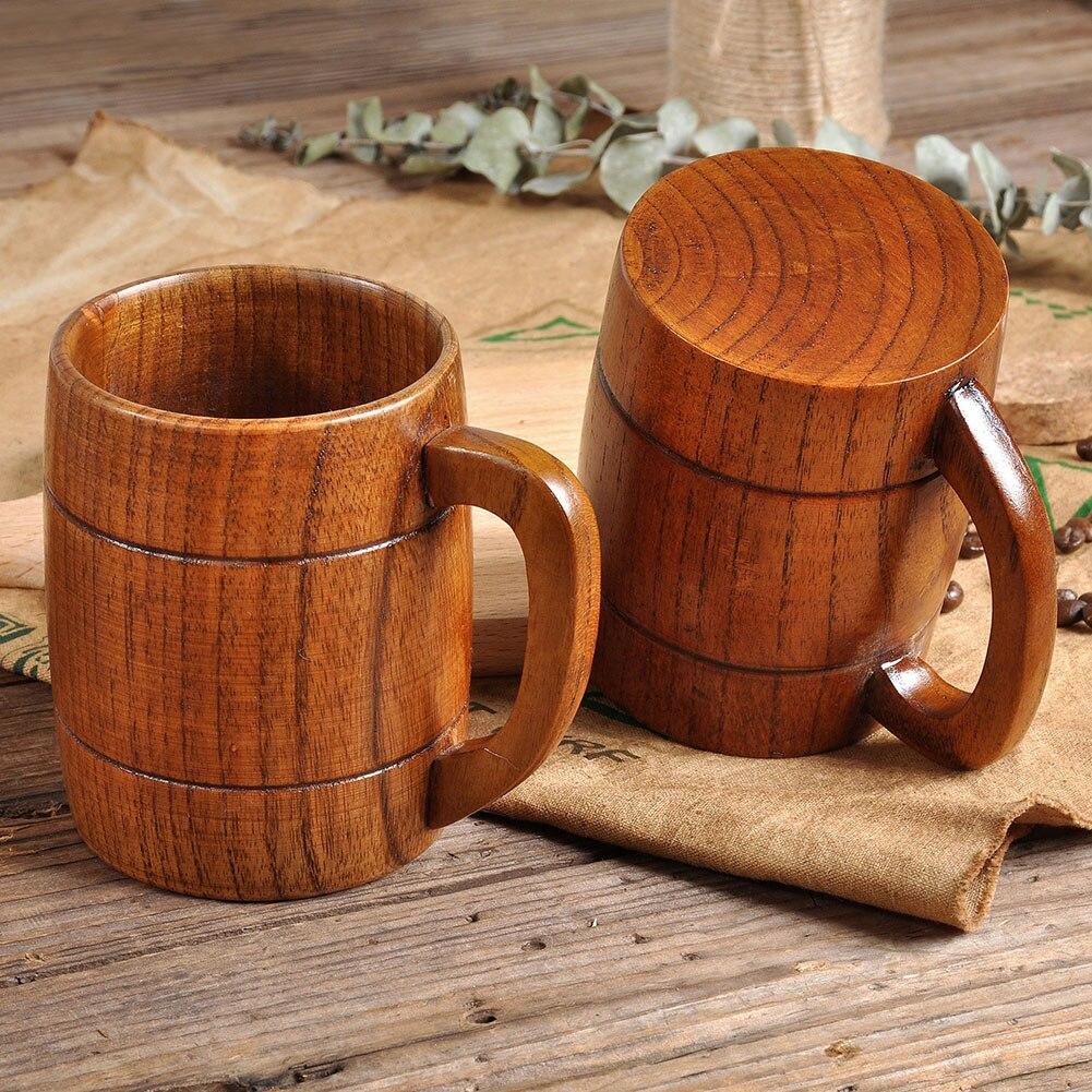 Taza de te de madera de Jujube natural de 400ml con mango cerveza café agua madera taza a prueba de calor vasos de fiesta tazas