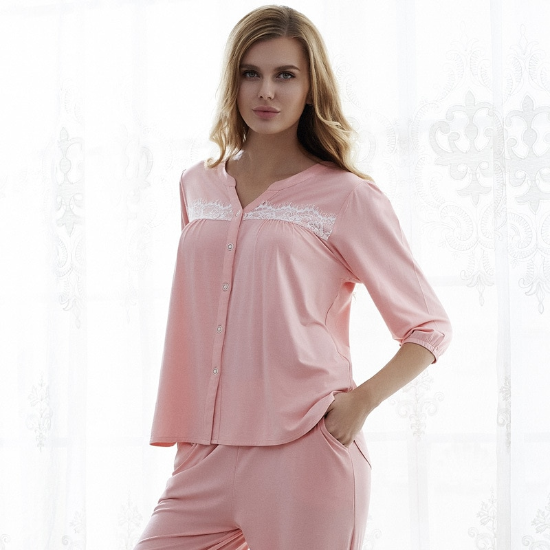 High Quality 2018 Autumn Women Pure Modal Floral Pajamas Set Ladies comfortable lounge set Homewear European Retro Style 71125