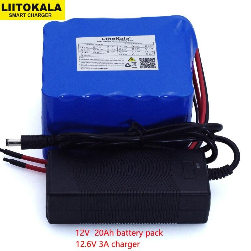 LiitoKala 12V 20Ah عالية الطاقة 100A التفريغ بطارية حزمة BMS حماية 4 خط الانتاج 500W 800W 18650 بطارية + 12.6V 3A شاحن