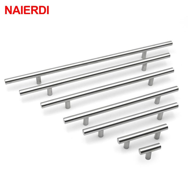 "AliExpress - NAIERDI 2″ ~ 24"" Stainless Steel Cabinet Handles Diameter 10mm Kitchen Pull Door T Bar Straight Handle Knobs Furniture Hardware"