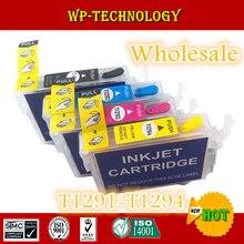 [Оптовая Продажа] полный картридж для заправки чернил для T1291-T1294, подходит для Epson SX230/235 W/420 W/425 W/430 W/435 W/438 W/440 W, дуговые чипы