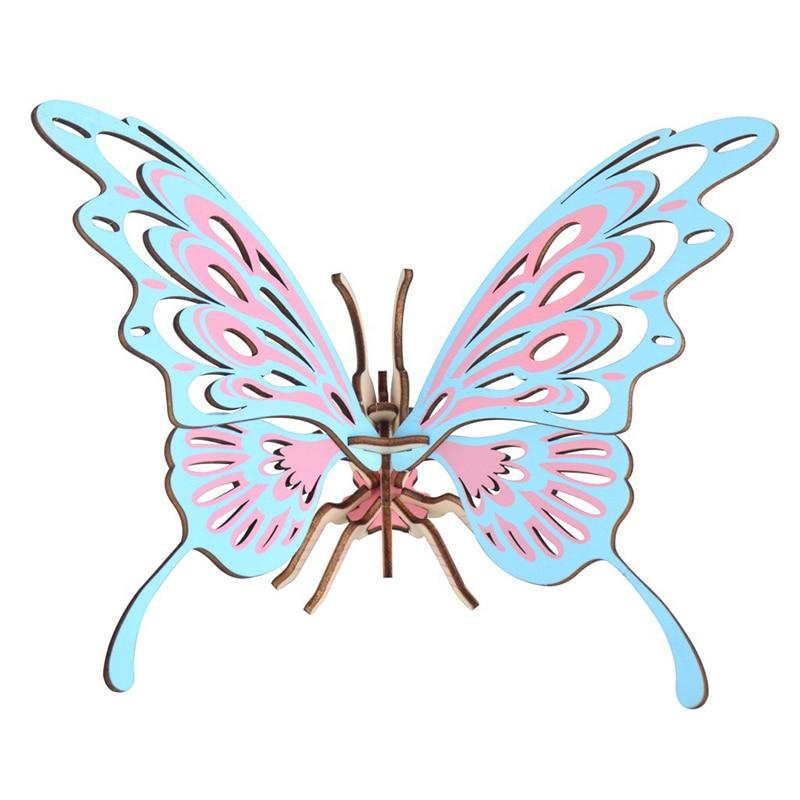 Juguetes Educativos de madera para bebés Chanycore, rompecabezas 3D, ensamblaje de animales, modelo de mariposa, juego para padres, Juguetes DIY