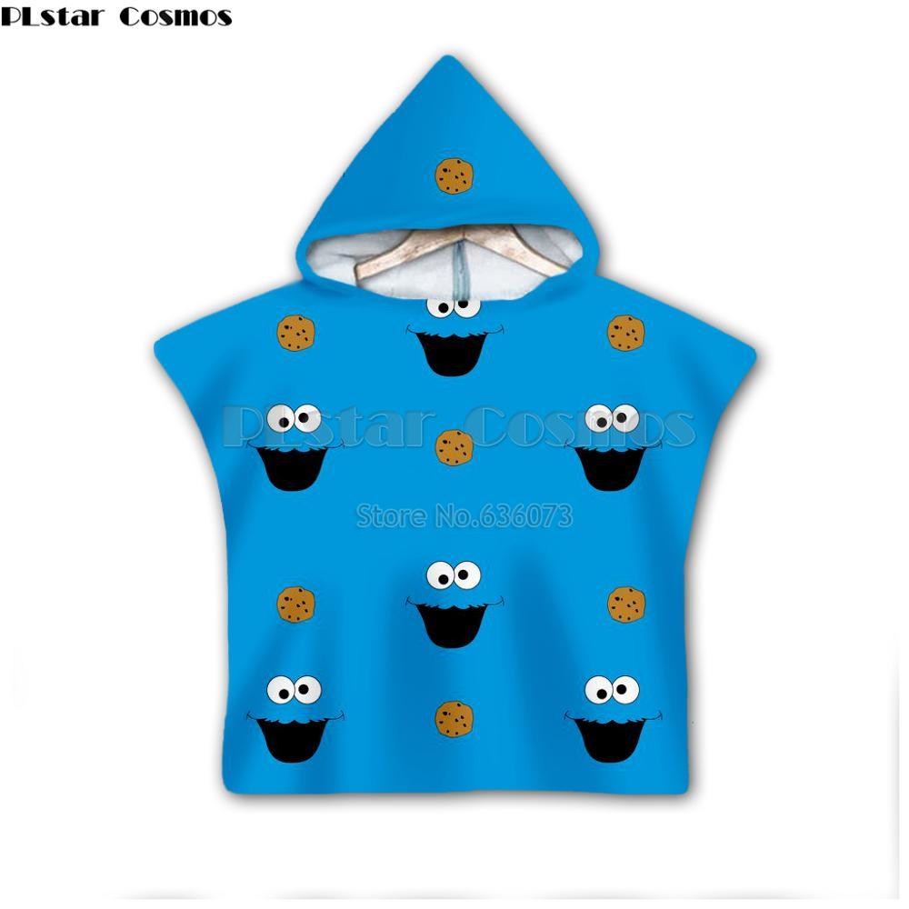 Barrio Sésamo galleta monstruo con capucha bebés y toalla para niñas Toalla de baño usable para niños viaje 3D toallas para playa estampadas estilo-6