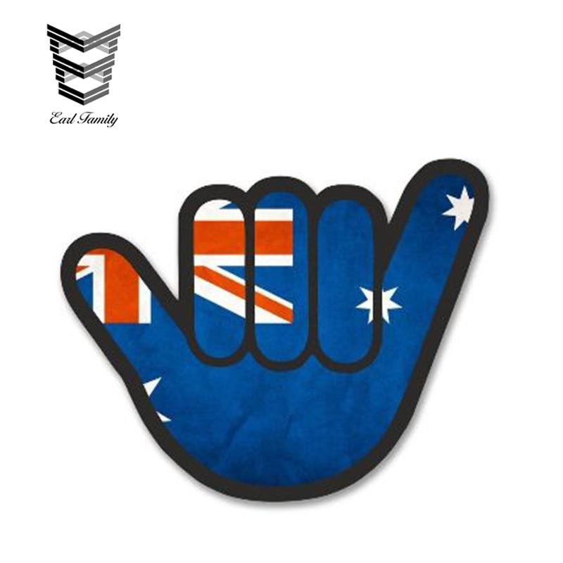 EARLFAMILY 13cm x 10cm mano sorpresa con estilo JDM bandera australiana motivo exterior vinilo reflectante para coche pegatina impermeable etiqueta