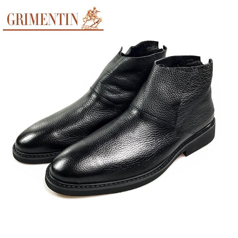 GRIMENTIN botines de hombre con cremallera de cuero genuino negro zapatos casuales cómodos gran oferta botas de moda Zapatos