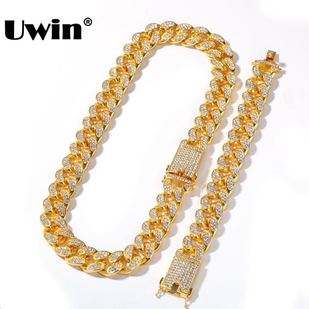 Uwin-طقم عقد وسوار شبكي للرجال ، طقم عقد وسوار كوبي ، أحجار الراين المتلألئة ، مجوهرات هيب هوب لامعة ، 20 مللي متر