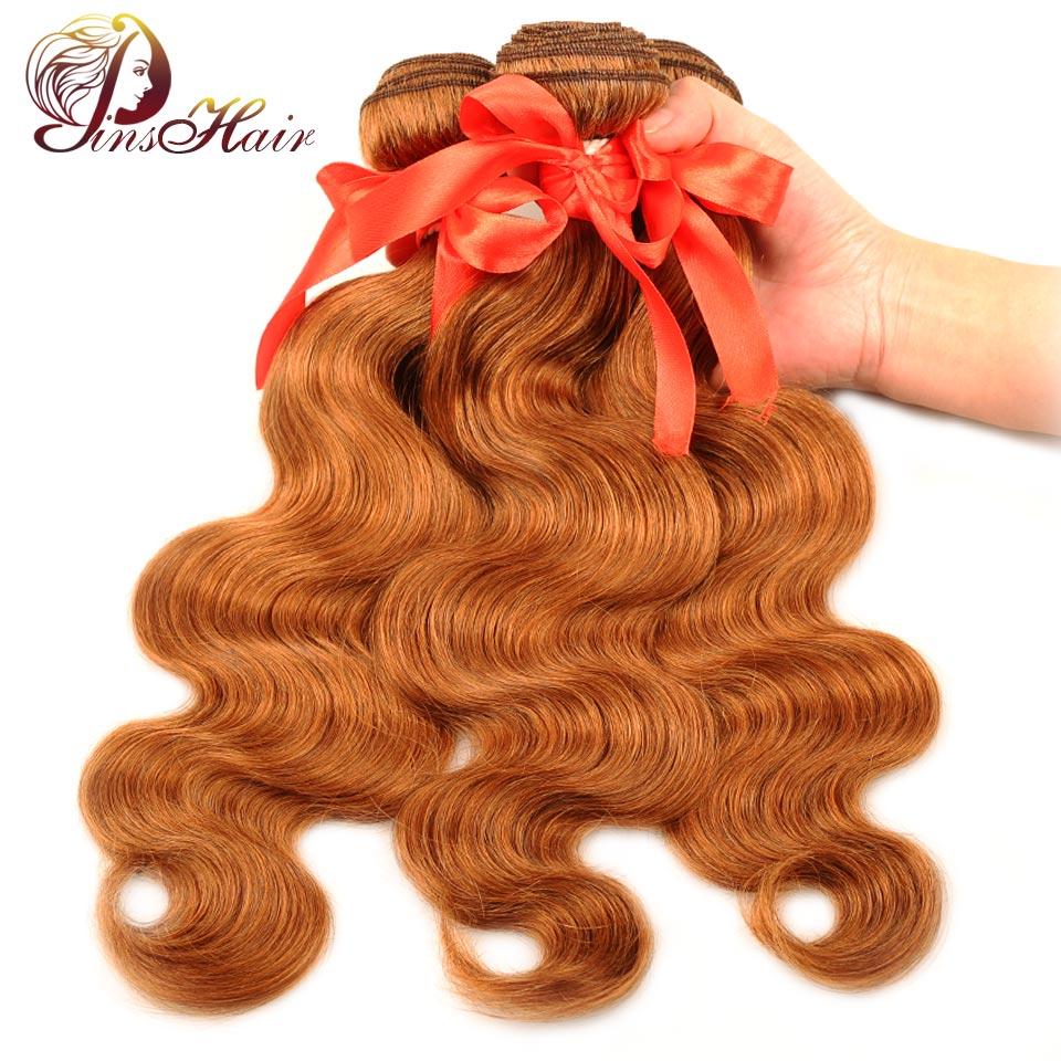 Pinshair Per-Colored pelo brasileño mechones de onda del cuerpo rojo marrón 30 extensiones de cabello humano 3 mechones de pelo no remy de 10-26 pulgadas