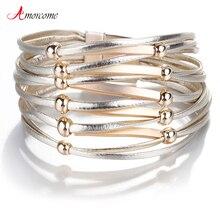 Amorcome Leather Bracelets For Women Metal Pipe Bead Charm Bracelets & Bangles Boho Multilayer Wide Bracelet Female Jewelry