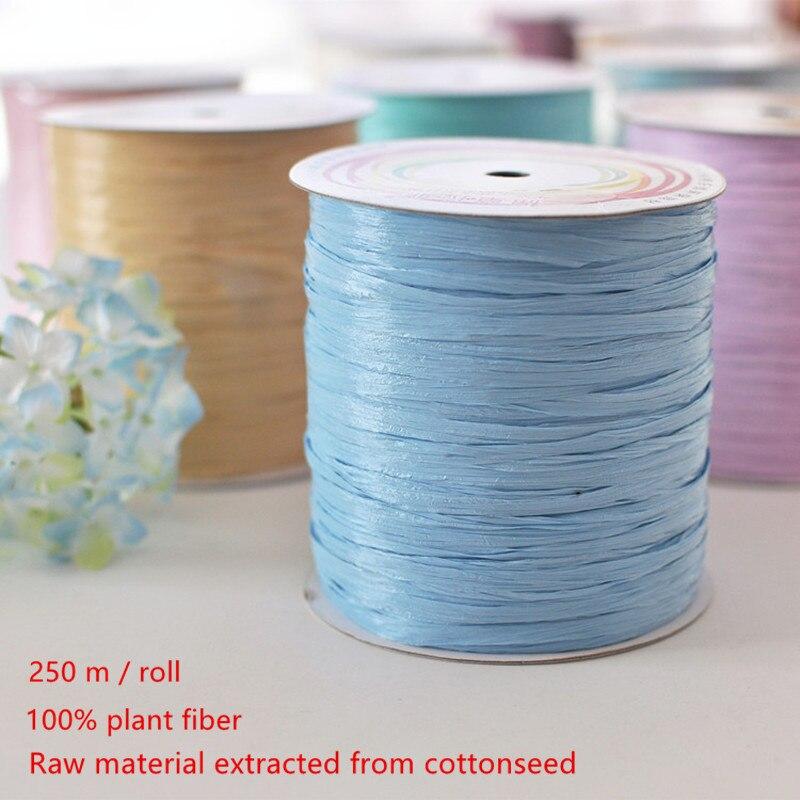 1 rollo de rafia hilo de paja de algodón 100% fibra vegetal hilo de ganchillo para tejer DIY sombrero de paja de verano bolsos de mano tejido a mano