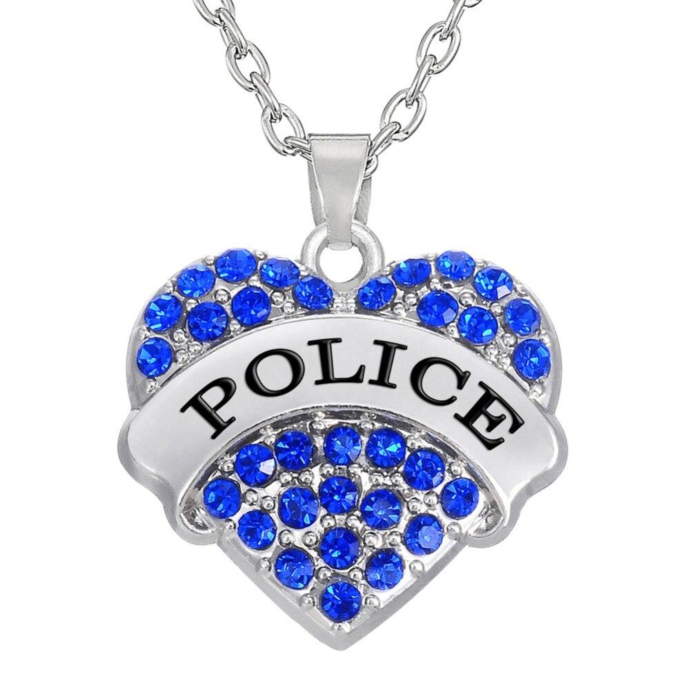 Collar con colgante de policía con corazón pavimentado de cristal azul/rosa con forma de corazón para mujer, Gargantilla, cadena larga, colgante profesional, regalo de joyería
