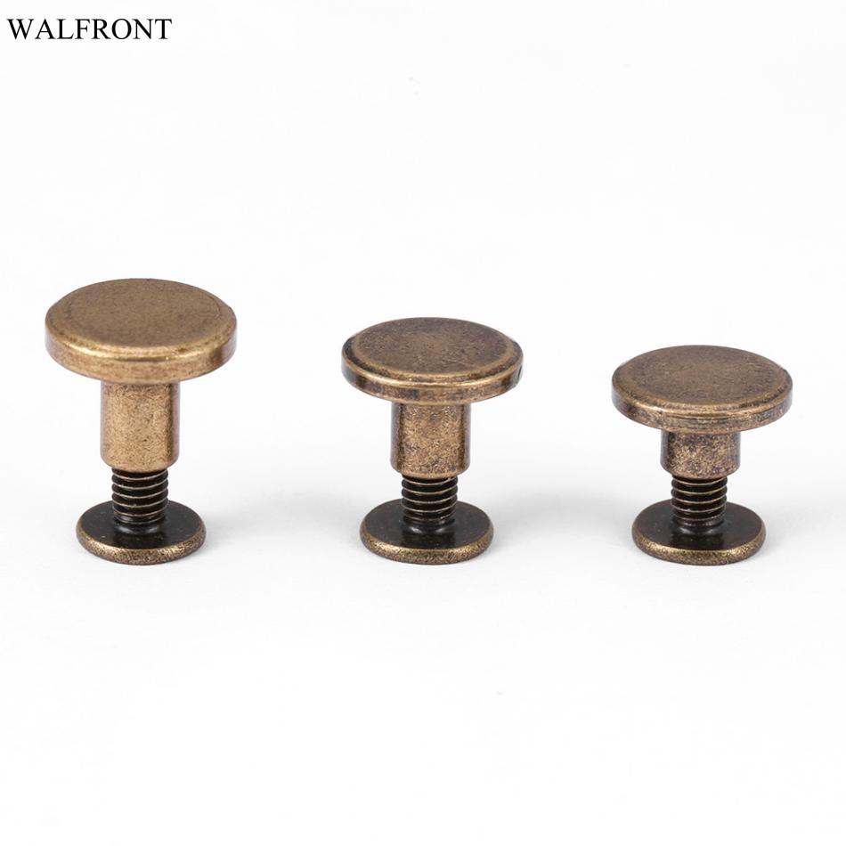 20Pcs/set Flat Head Copper Brass Screws Nuts Nails Rivets Leather Cap Accessory