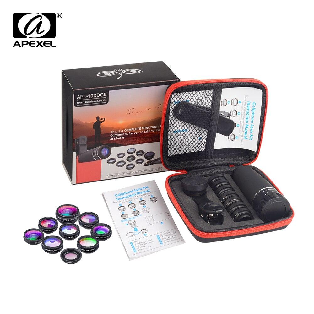 APEXEL telefon Kamera Objektiv Kit 10 in 1 Fisheye Weit Makro 10x teleskop Sterne Filter CPL Linsen für Huawei Samsung alle handys